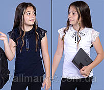 """Блузка шкільна з мереживним коміром на дівчинку віком 6-14 років (3ол)""""JUNIOR"""" купити недорого від прямого постачальника"""