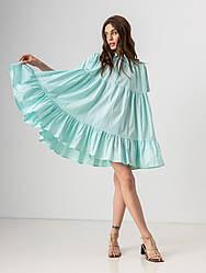 Летнее короткое платье-рубашка свободного кроя с  воротником на пуговицах  в 4 цветах в универсальном размере