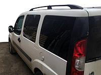 Алюмінієві рейлінги Чорні з чавунними ніжками Fiat Doblo на макси базу, фото 1
