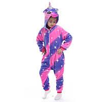 Пижама Кигуруми детская BearWear Единорог Пинк Страйпс (на молнии) M 115 - 125 см Фиолетово-малиновый