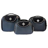 Сумка кейс саквояж 3в1 Bonro Style чорно-сірий