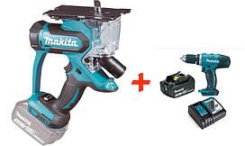 Аккумуляторная пила для гипсокартона Makita DSD180Z+аккумуляторная дрель-шуруповерт Makita DDF453, КОД: