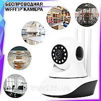 Беспроводная поворотная Wi-Fi IP Камера видеонаблюдения Onvif 720HD 355° Видеокамера с микрофоном на 3 антенны