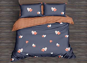 """Комплект постельного белья бежевый в размерах """"Сердечки парой"""" из Ранфорса"""