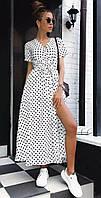 Платье в горошек белое SKL11-293769