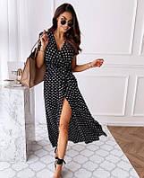 Платье в горошек черное SKL11-293770
