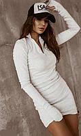 Платье женское рубчик белое SKL11-289534