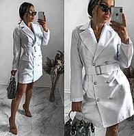 Платье-жакет с поясом белое SKL11-292368