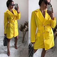Платье-жакет с поясом желтое SKL11-292367