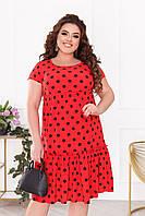Женское платье красного цвета в черный горох SLK11-290980