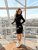 Женское платье Лиза рубчик черного цвета SKL11-292392