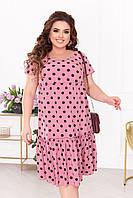 Женское платье розового цвета в черный горох SLK11-290976