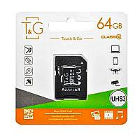 Карта памяти T&G microSDXC (UHS-3) 64 GB class 10 (с адаптером) для телефона, планшета, фотоаппарата