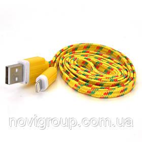 ¶Кабель data Iphone5 / 5s / 5C - Ipad 4, 1m, (плоский) в оплетке, Yellow, ОЕМ Q100