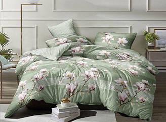 """Комплект постельного белья зеленый в размерах """"Магнолия"""" из Бязи Голд"""
