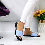 Фактурні блакитні шкіряні жіночі шльопанці шльопанці натуральна шкіра, фото 4