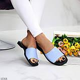 Фактурні блакитні шкіряні жіночі шльопанці шльопанці натуральна шкіра, фото 7