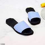 Фактурні блакитні шкіряні жіночі шльопанці шльопанці натуральна шкіра, фото 8
