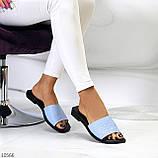 Фактурні блакитні шкіряні жіночі шльопанці шльопанці натуральна шкіра, фото 9