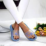 Ошатні блакитні анатомічні легкі силіконові шльопанці декор зірки, фото 5