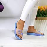Ошатні блакитні анатомічні легкі силіконові шльопанці декор зірки, фото 9