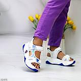 Трендовые белые синие голубые текстильные женские босоножки мультиколор, фото 2