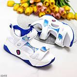 Трендовые белые синие голубые текстильные женские босоножки мультиколор, фото 3