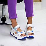 Трендовые белые синие голубые текстильные женские босоножки мультиколор, фото 4