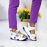 Трендовые белые синие голубые текстильные женские босоножки мультиколор, фото 5