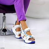 Трендовые белые синие голубые текстильные женские босоножки мультиколор, фото 6