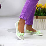 Невесомые женственные салатовые текстильные тканевые балетки в ассортименте, фото 4