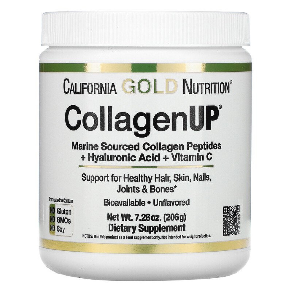Коллаген Пептиды UP без ароматизаторов, Collagen, California Gold Nutrition, 7,26 унц. (206 г)