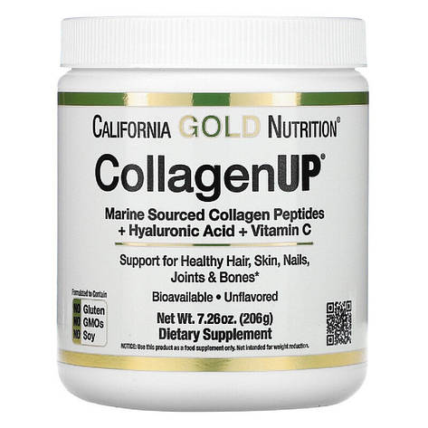 Коллаген Пептиды UP без ароматизаторов, Collagen, California Gold Nutrition, 7,26 унц. (206 г), фото 2