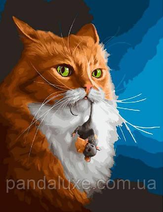 """Картина за номерами. Rainbow Art """"Кіт з мишкою"""" GX27371-RA, фото 2"""