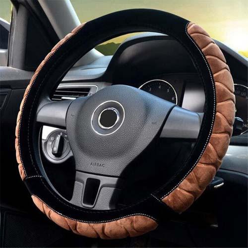 Оплетка чехол на руль, плюшевый, 37см, БЕЗ ОБТЯЖКИ, коричневая