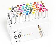 Набор двусторонних спиртовых маркеров 60 цветов Rich New, профессиональные фломастеры 60 штук для дизайнеров, фото 3