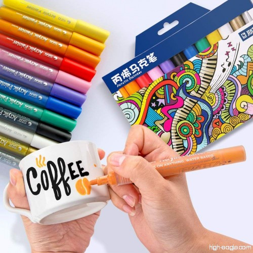 Маркери для дизайнерів, Набір різнокольорових акрилових маркерів 12 шт для малювання по тканині, склу, дереву