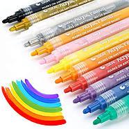 Маркери для дизайнерів, Набір різнокольорових акрилових маркерів 12 шт для малювання по тканині, склу, дереву, фото 2