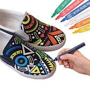 Маркери для дизайнерів, Набір різнокольорових акрилових маркерів 12 шт для малювання по тканині, склу, дереву, фото 5