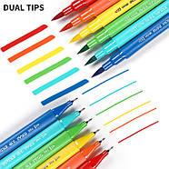 Великий набір маркерів 100 кольорів для малювання і скетчинга, двосторонні маркери на водній основі, фото 7