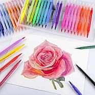 Великий набір маркерів 100 кольорів для малювання і скетчинга, двосторонні маркери на водній основі, фото 8