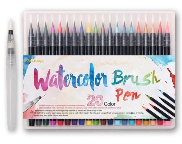 Акварельные маркеры для скетчинга с кисточкой 20 цветов, Детский набор для рисования для юного художника