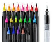 Акварельные маркеры для скетчинга с кисточкой 20 цветов, Детский набор для рисования для юного художника, фото 6