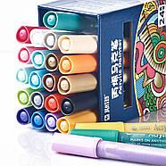 Акриловые маркеры 24 шт для холста, кожи, дерева, одежды. Набор цветных маркеров 24 цвета для рисования, фото 2