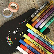 Акриловые маркеры 24 шт для холста, кожи, дерева, одежды. Набор цветных маркеров 24 цвета для рисования, фото 6