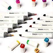 Набір двосторонніх маркерів Touch Smooth для малювання і скетчинга 40 штук, Художні маркери спиртові, фото 9