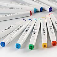 Маркеры для скетчинга 12 шт Touch для начинающих, Набор цветных спиртовых маркеров для рисования и скетчей, фото 4
