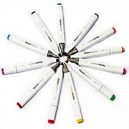 Скетч маркери Touch Smooth 24 шт фломастери двосторонні для малювання і скетчинга, Набір спиртових маркерів, фото 7