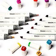 Скетч маркери Touch Smooth 24 шт фломастери двосторонні для малювання і скетчинга, Набір спиртових маркерів, фото 9
