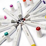 Набір двосторонніх маркерів 36 кольорів Touch Smooth Художні маркери для скетчинга для початківців, фото 7